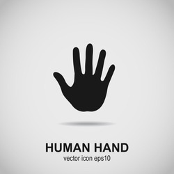 Hand icon. Human hand black silhouette. Vector illustration.
