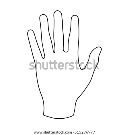 Hand icon in outline style isolated on white background. Part of body symbol stock vector illustration.