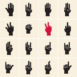 Hand icon. Sign language. Gestures. Fingers