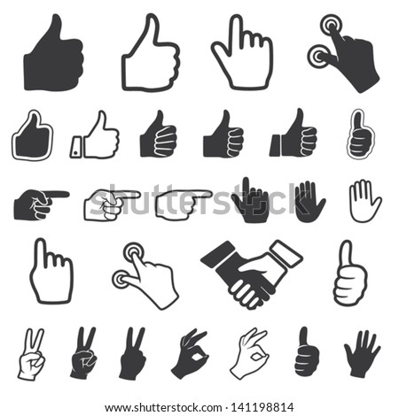 hand icon vector set