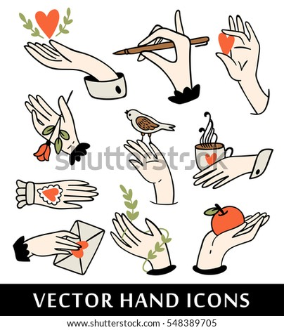 Hand icons collection. Colorful vector illustration