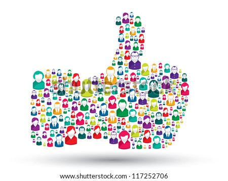 hand icons of people with the symbol of like