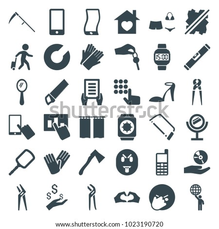 Hand icons. set of 36 editable filled hand icons such as mirror, heel sandals, finger on display, gloves, holding document, hacksaw, pliers, facepalm emot, expander sport, axe