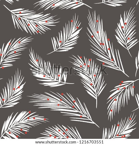 Hand-illustrated seamless vector modern Christmas holiday pine bough pattern. Hand-drawn botanical Xmas winter background with white pine branches and red berries
