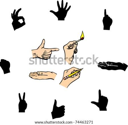 hand illustrations and symbols set