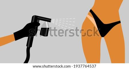 Hand in a black glove with a black spray tan machine sprays tan on a woman's body in black bikini. Vector illustration of auto tanning procedure Foto d'archivio ©