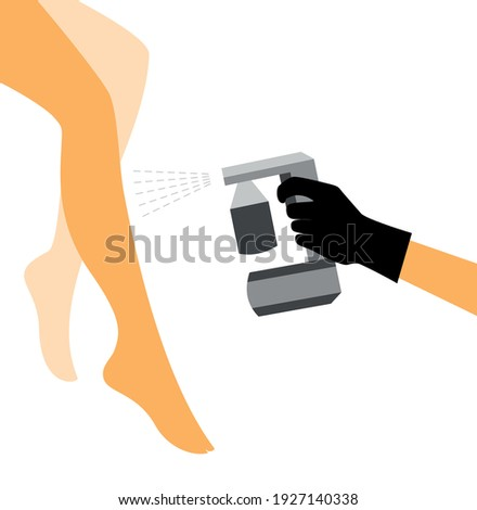 Hand in a black glove with a gray spray tan machine sprays tan on a woman's leg. Vector illustration of auto tanning procedure Foto d'archivio ©