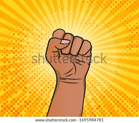 Hand in fist as pop art style. I can do it. Be strong. Hand of African American woman on yellow sun background. Vector illustraion