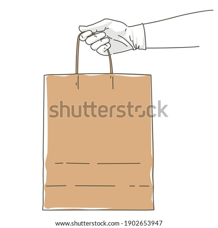 Hand in glove holding paper bag. Safe delivery courier service order. Pay online by internet concept. Takeaway food meal. Vector sketch illustration.