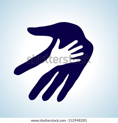 Hand in hand illustration in white and blue. Help, assistance and cooperation symbol.