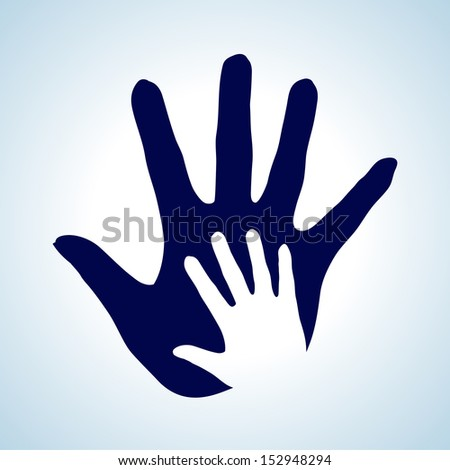 Hand in hand illustration in white and blue. Idea of help, assistance and cooperation.
