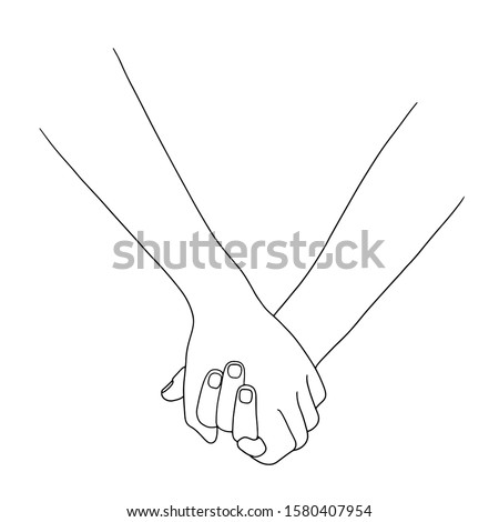 hand in hand. thin line drawing black hands . Vector illustration