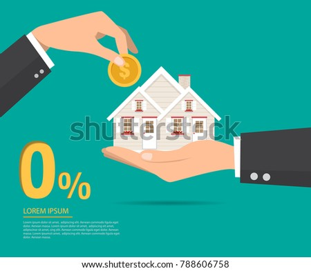 Hand in hand with a house in the palm and collect coins to buy a home. Interest zero percent. vector illustration flat design.