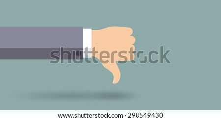 Hand in thumbs down sign. Negative feedback. Vector illustration.