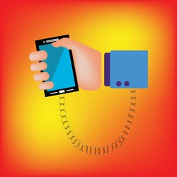 Hand is chained to the phone and key locking. vector illustration.