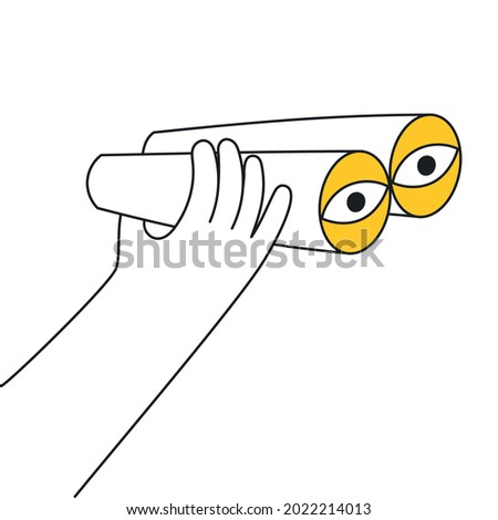 Hand is holds binoculars. Vision, research, observation, discovery and exploration icon concept. Thin line vector illustration on white.