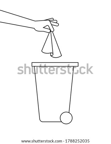 Hand is throwing away a paper tissue in a trash bin. Dispose used paper towels. Respiratory hygiene. COVID-19 prevention. Line icon. Black outline on white background. Vector illustration, clip art. Stockfoto ©