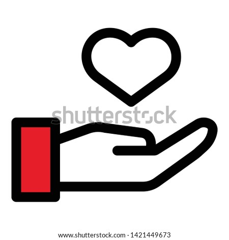 Hand keep heart icon. Outline hand keep heart vector icon for web design isolated on white background