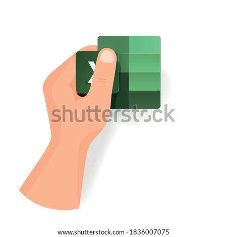 Hand keep new Excel icon from popular program office microsoft. Vector separate icons