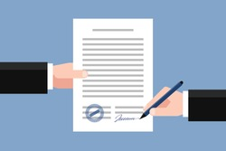 Hand keeping an agreement and hand keeping a pen. Stage of signing an agreement. Business partnership concept