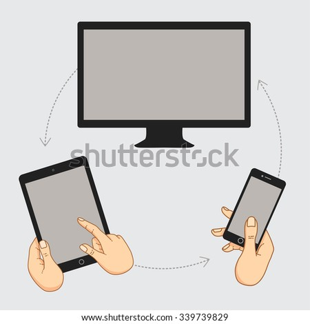 hand keeps mobile phone  tablet