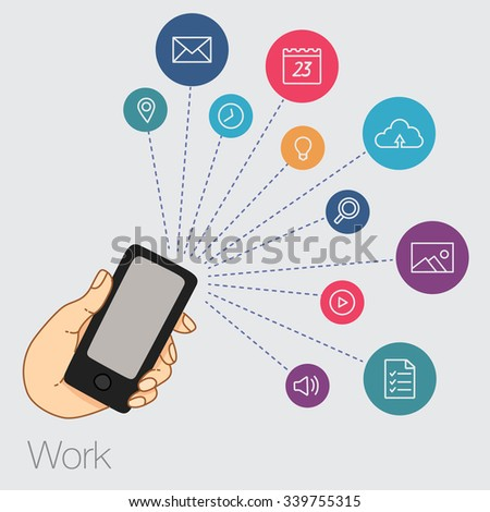 hand keeps mobile with set of