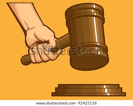 Hand Knocking Gavel
