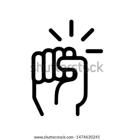 Hand knocking on door icon. Vector illustration. Foto stock ©