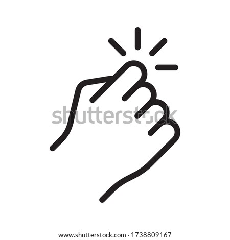Hand knocking on door icon. Vector illustration, isolated on white background. Foto stock ©