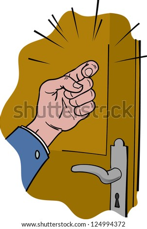 Hand knocking on wooden doors
