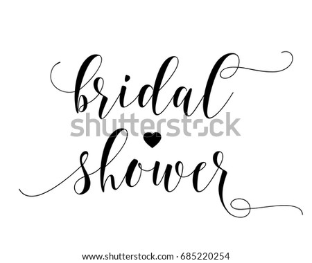 hand letter script wedding sign catch word art design vector for bridal shower