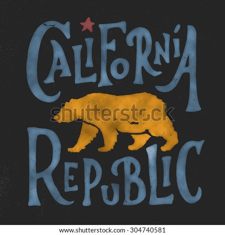 Hand lettered California Republic apparel t shirt fashion design, Walking Grizzly Bear graphic, typographic art, ink drawing vector illustration, Golden state west coast travel souvenir.