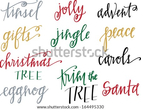 Hand-lettered Christmas words vector set