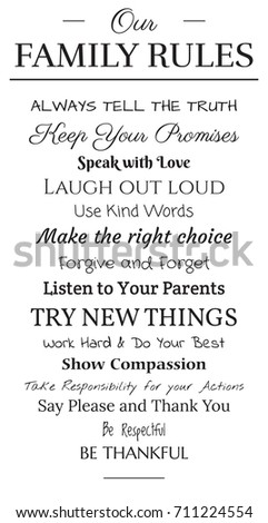 hand lettered family rules