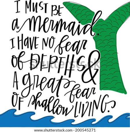 hand lettered mermaid quote