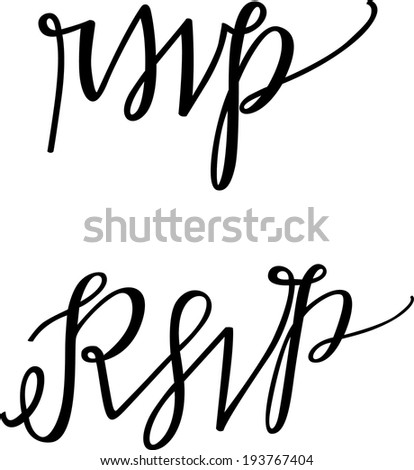 Hand-lettered RSVP Vector Set of Two