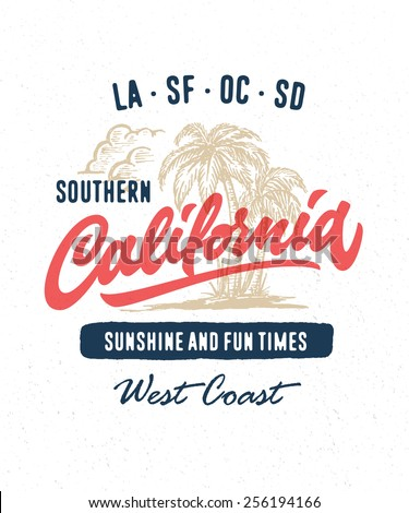 Hand lettered southern California apparel t shirt fashion design, summer beach palm tree tee graphic, typographic art, ink drawing vector illustration, Golden state west coast travel souvenir