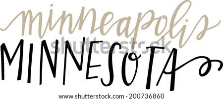 Hand-lettered vector of Minneapolis, Minnesota