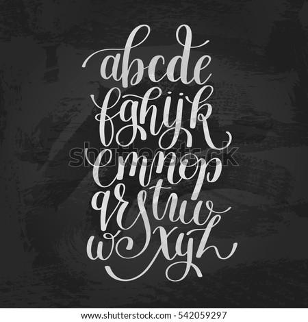 hand lettering alphabet design, handwritten brush script modern calligraphy cursive font vector illustration