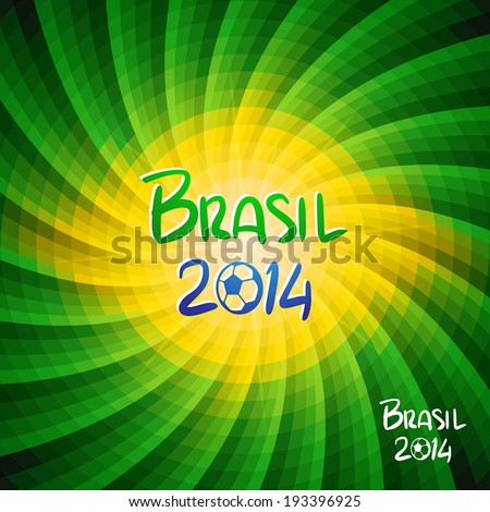 Hand lettering Brazil 2014 with abstract geometric background. Vector illustration.