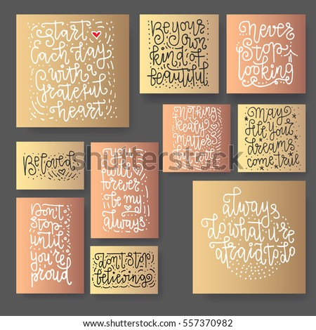 Hand lettering greeting cards set. Hand drawn prints. Ink quotes. Modern brush calligraphy. #557370982