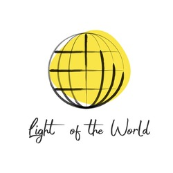 Hand lettering light of the world, made with yellow ink globe. Biblical background. Christian poster.Modern calligraphy. Motivational quote. Stock Vector illustration isolated