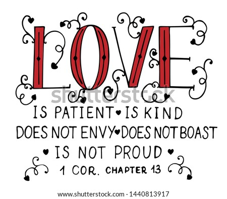 Hand lettering Love is patient, kind, made with hearts. Biblical background. Christian poster. Card. Scripture print. Wedding. Valentine s day Corinthians Foto stock ©