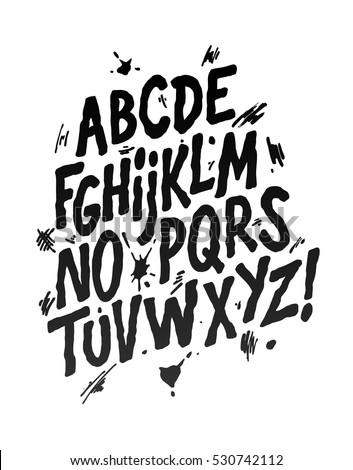 Hand lettering sketch font. Vector alphabet