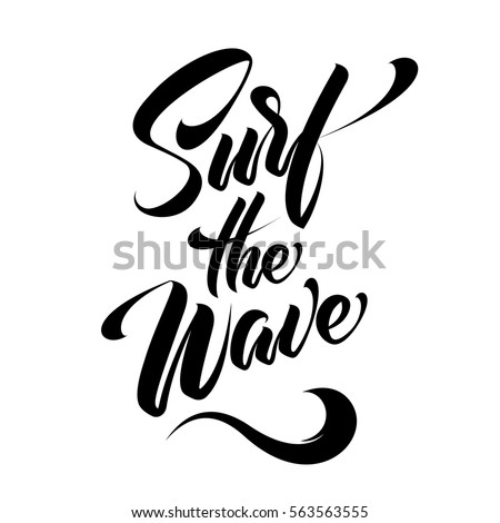 hand lettering surf the wave