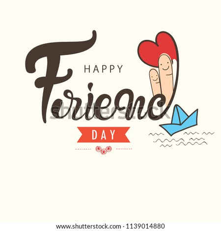"""Hand Lettering Text """"Happy Friendship Day"""" on Doodle Background for Friendship Day Celebration."""