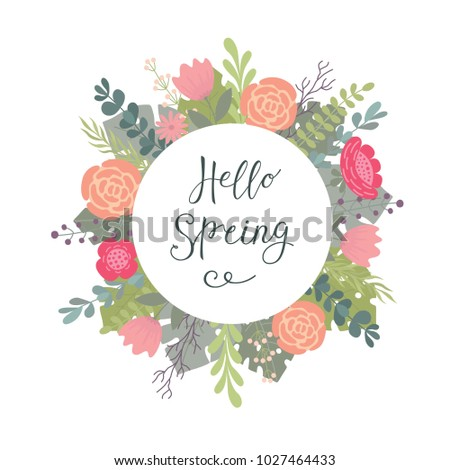 Hand lettering typographic drawing with a phrase Hello spring and decorative flower background. #1027464433