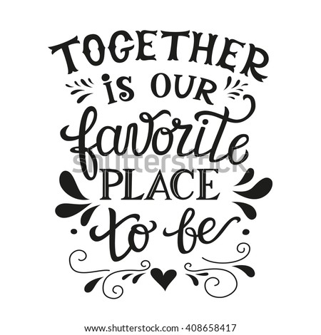 Hand lettering typography family poster. Romantic family quote