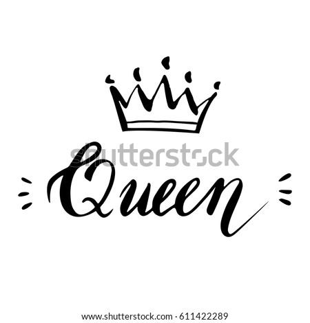Stock Vector Hand Lettering Word Queen Background With Crown Decorating Of Invitations Greeting Cards Cartoon Mixed Up Letters