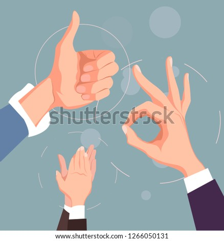 Hand like and ok gesturing.Hands clapping. Congratulation, appreciation and business success. Vector illustration